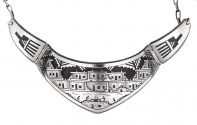 Victor Coochwytewa, Hopi Silver Overlay Necklace