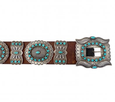 Navajo Concho Belt with Turquoise Cabochons by Roger Skeet, c.1940
