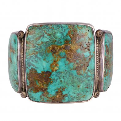 Ernie Lister, Navajo Silver Bracelet with Three Large Kingman Turquoise Cabochons
