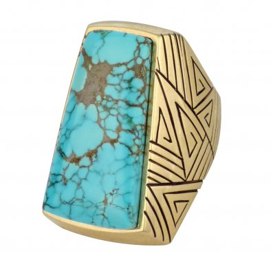 Harvey Begay, Navajo 14k Gold Ring with #8 Turquoise,