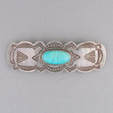 Hopi Stamped Hair Barrette with Oval Stone by Ralph Tawangyawma, c. 1940