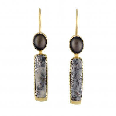 Gail Bird and Yazzie Johnson 18 Karat Gold Earrings with Black Star Sapphire and Silver In Quartz Cabochons